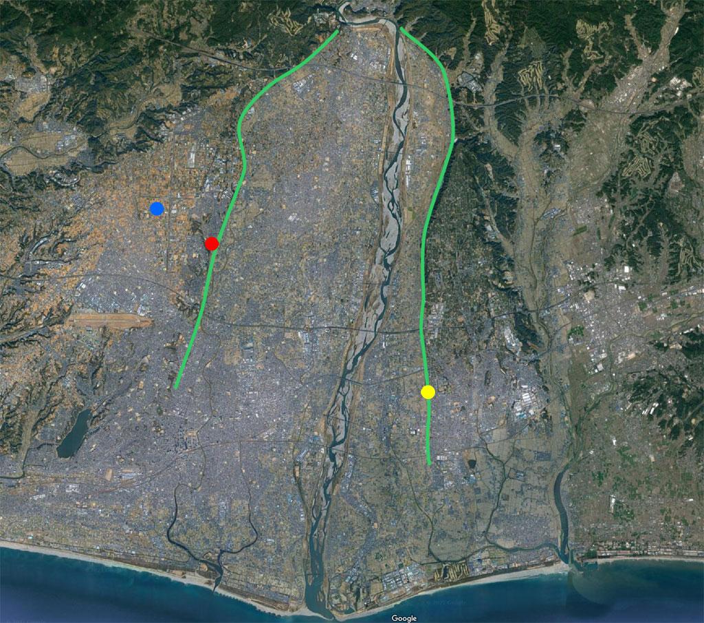 天竜川周辺の航空地図